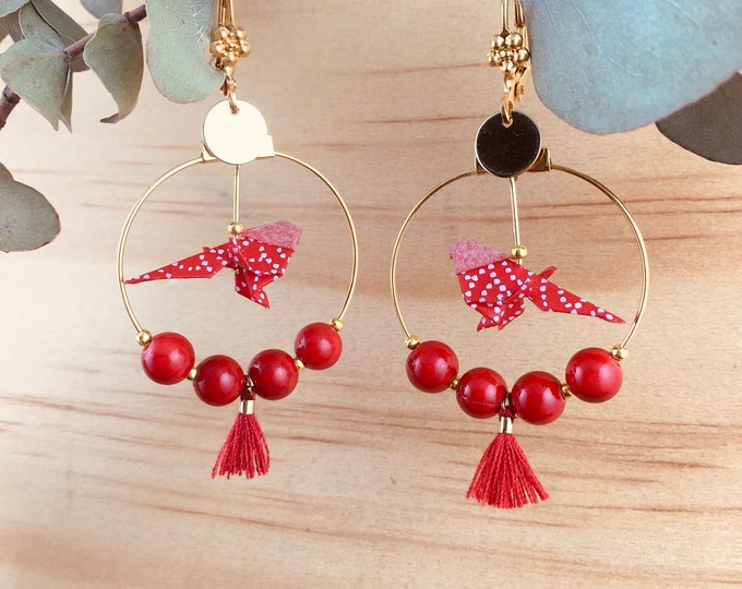 Origami birds large hoop earrings, red earrings for women