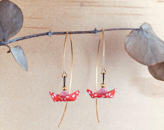 Origami boats earrings