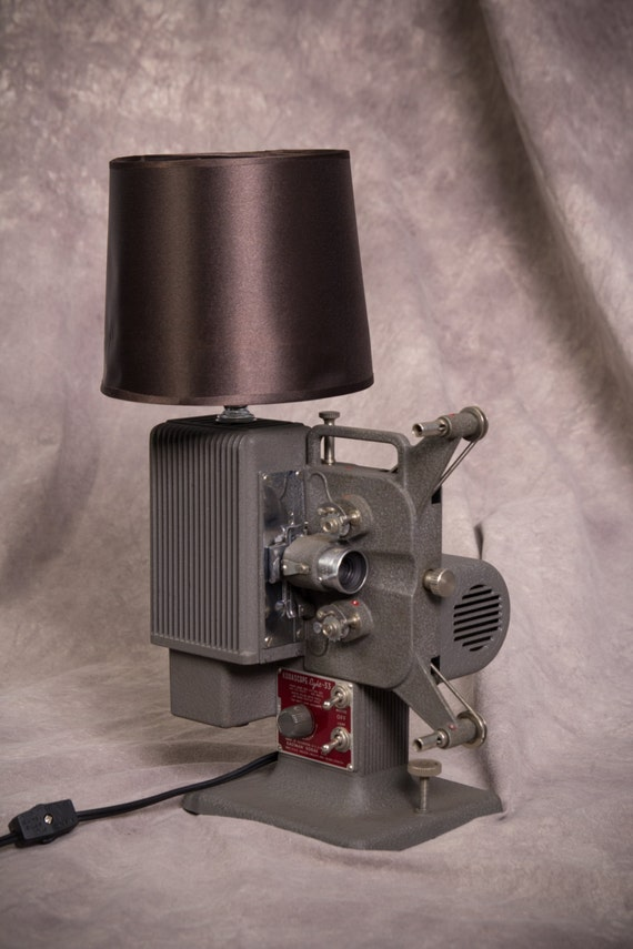 "Retro steampunk vintage lamp made from 1940's Kodak ""Kodascope"" movie projector"