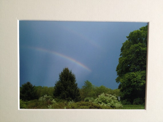 Photograph DOUBLE RAINBOW...What does it MEAN - 5x7 with 8x10 mat