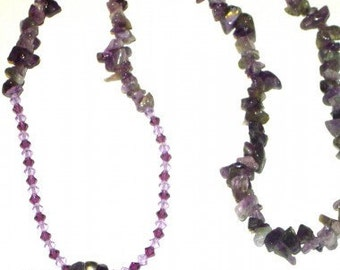 Amethyst Swavroski Crystal Necklace With Butterfly Pendant Magnetic Clasp