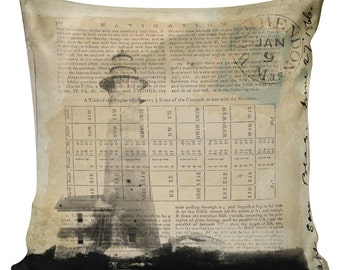 Vintage French Nautical Lighthouse Postal Document Burlap Cotton Throw Pillow Cover NA-14