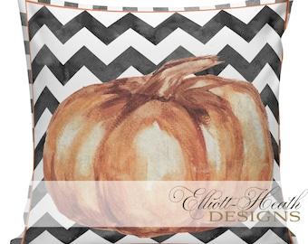 Halloween Pillow Cover, Vintage Halloween, Jack O Lantern, Pumpkin, Farmhouse Pillows, Black and White Checks, #HA0329