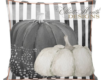 Halloween Pillow Cover, Vintage Halloween, Jack O Lantern, Pumpkin, Farmhouse Pillows, Black and White Checks, #HA0328