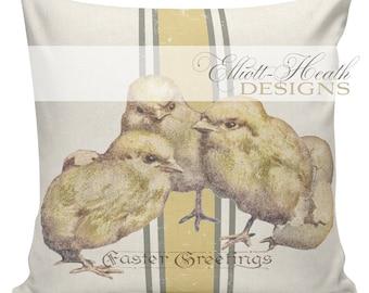 Easter Pillow, Easter Pillow Cover, Easter Chicks, Feedsack Stripe, Cotton, Spring Throw Pillow Cover. #SP0194 Elliott Heath Designs