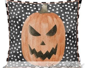 Halloween Pillow Cover, Vintage Halloween, Jack O Lantern, Pumpkin, Farmhouse Pillows, Black and White Checks, #HA0323