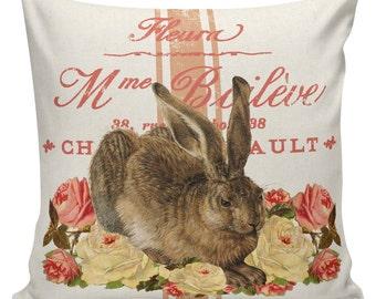 Easter Pillow, Easter Pillow Cover, Easter Rabbit, Bunny, Feedsack Stripe, Cotton, Spring Throw Pillow Cover. #SP0200 Elliott Heath Designs