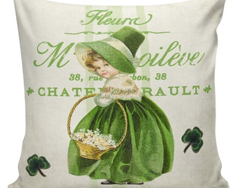 St Patricks Day Pillows, Green Decor, Burlap Pillow Cover, French Pillows, Sofa Pillows, Couch Pillow, Cushion Covers, #EHD0132