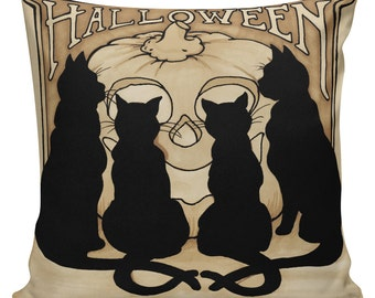 Halloween Vintage Pumpkin Jack o Lantern Cats Burlap Cotton Throw Pillow Cover #HA0159 Elliott Heath Designs
