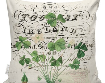 Modern Farmhouse, St. Patrick's Day Pillow, Shamrock Pillow, Botanical, Throw Pillow Cover, St Pattys Day Pillow, Burlap & Cotton #SP0243