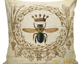 Throw Pillow Cover - Vintage French Spring Honey Bees Antique Document Burlap & Cotton Home Decor BE-05