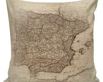 Vintage French Map of Spain from Antique Document Burlap Cotton Throw Pillow Cover FR-51