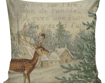 Christmas Pillow Cover Vintage Santa Reindeer Deer Christmas Burlap & Cotton Holiday Decor #CH0013 Elliott Heath Designs
