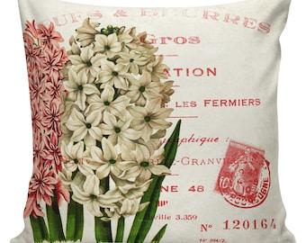 Floral Pillow Cushion Antique Botanical Print Document Burlap Cotton Hyacinth Throw Pillow Cover SP-167 Elliott Heath Designs