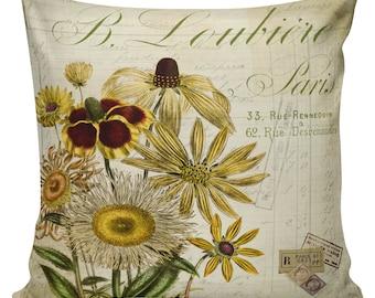 Sunflower Pillow, Botanical Pillows, Sunflowers, Floral, Fall Decor, Cushion Covers, Throw Pillows, Made in USA, Cotton, Burlap,   #HA0239