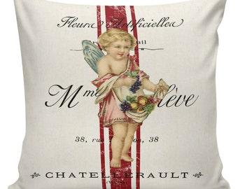 Valentine Pillow, Love Pillow, Romance, French Style Throw Pillow Cushion Cotton with Cotton or Burlap Back #EHD0105 Elliott Heath Designs