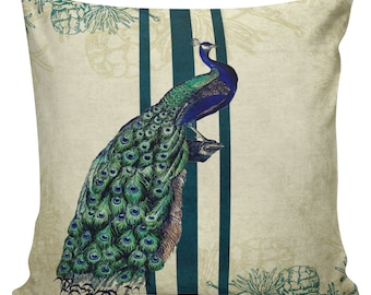 Vintage Peacock Pine Cone Christmas Document French Document Burlap Cotton Throw Pillow #CH0024