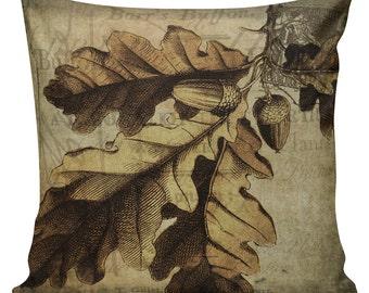 Throw Pillow Cover Vintage French Acorn Oak Fall Autumn Harvest Cotton & Burlap Home Decor #HA0050