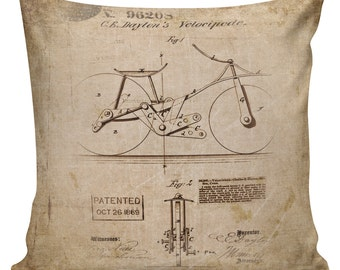 Vintage French Style Old Schematic Bicycle Burlap Cotton Throw Pillow Cover FR-66 Elliott Heath Designs