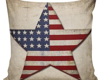 Throw Pillow Cover - Vintage Americana Flag Cotton Front with Cotton or Burlap Back Home Decor #FL0025 Elliott Heath Designs