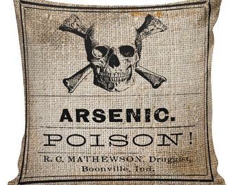 Vintage Halloween Skull Poison Label Arsenic Burlap Cotton Throw Pillow Cover #HA0186 Elliott Heath Designs