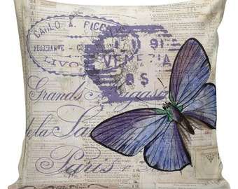Home Decor Pillow Cushion Spring Butterfly French Floral Burlap Cotton Throw Pillow Cover SP-142