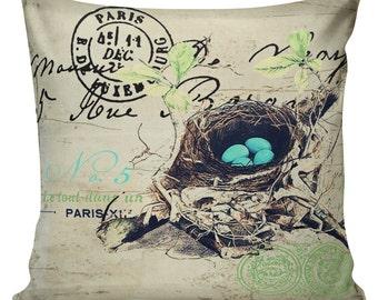 Spring Pillow Vintage French Pillow Botanical Blue Eggs Nest Burlap Cotton Throw Pillow SP-09