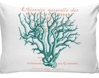 Beach Pillow Nautical Style Coral Teal White Beach Cottage Design Fits 12x18 or 10x16 Throw Pillow Cover NA-111 Elliott Heath Designs