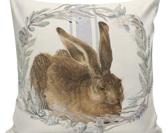 Easter Pillow, Easter Pillow Cover, Easter Bunny, Rabbit, Feedsack Stripe, Cotton, Spring Throw Pillow Cover. #SP0205 Elliott Heath Designs