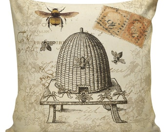 Throw Pillow Cover - Vintage French Spring Honey Bee Hive Antique Document Burlap & Cotton Home Decor BE-04