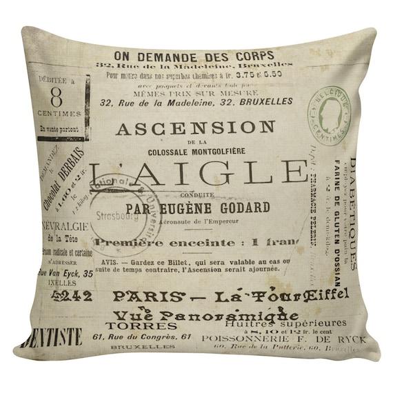 Vintage French Antique Advertisements and Postmarks Document Burlap Cotton  Throw Pillow Cover #FR0041 Elliott Heath Designs