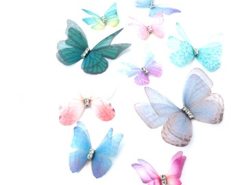 10x Mini Artificial Organza Butterfly Picks for Craft Card