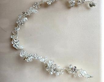 Gold Headpiece Tiara Making Leaf Crystal Vines Supply NO RIBBON Bridal Tiara Jewelry Wedding Sash Crystal Beads Wire