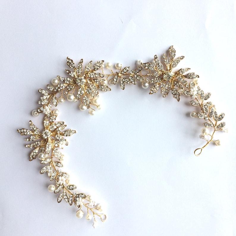 Crystal Flower Sash Supply Bridal Tiara Jewelry Making Wedding Hair Accessories DIY Gold Leaf for Making Headpiece Tiara Wire DIY