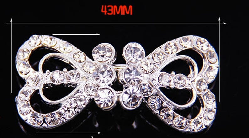 Rhinestone crystal clasp clasp closure button hook and eye closure Heart wedding clasp crystal clasp Vintage clasp