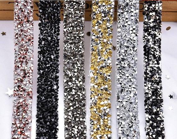 2 Yard 1.5 cm -Copper Black Gold Silver Rhinestone sash applique, Iron on applique, Sew on applique, Sew On Crystal Trim, Crystal Gem Trim