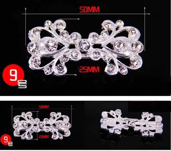 Vintage Style Silver Heart Rhinestone Crystal Wedding Closure Hook and Eye Clasp