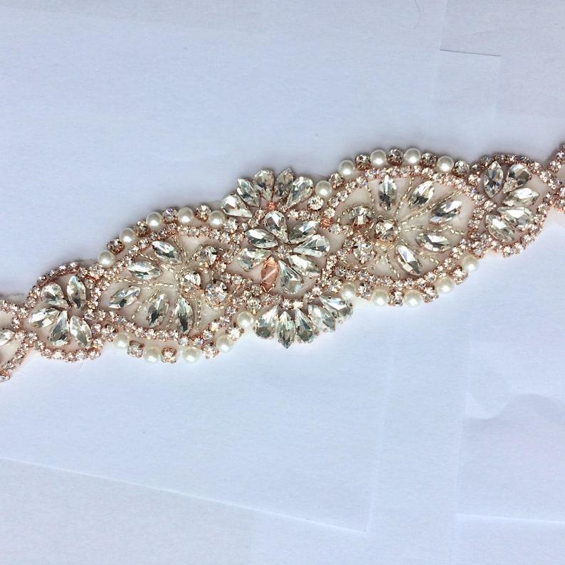 Iron On Sew On Rhinestone Crystal applique Silver Gold Pearl Rhinestone applique NO RIBBON Wedding dress long applique Rose Gold