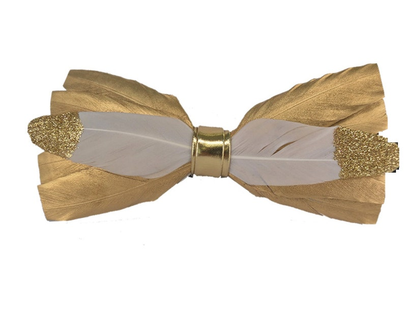 Flat Back Gold Feather Bow Sewing Bow Glue On Bow Bow For image 0