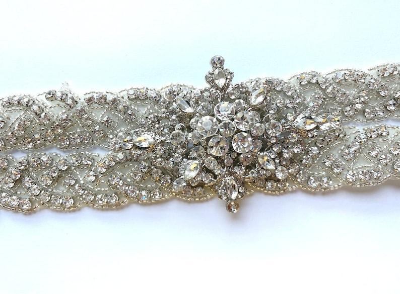 Crystal Beaded Trim Wedding Belt Trim Bridal Accessories Sew On Iron On Applique Trim Crystal Clear Rhinestone Trim