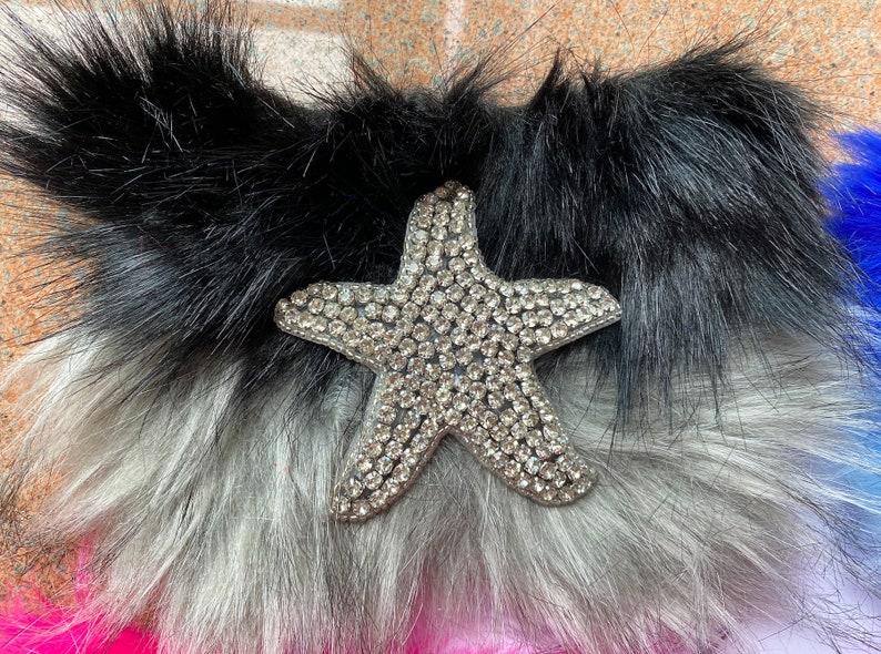 Starfish Crystal Fur 1 Pair Faux Fur stripe Fur Slide For Making Sandals Slippers Or Bag Decoration Or Hat Short Fur Stripe