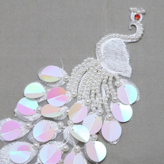 Paon de dentelle, dentelle, de dentelle de perle, dentelle de paon, applique de dentelle, grue, Pearl patch dentelle, dentelle mariage, dentelle de l'oiseau, oiseau perlé 471c1b