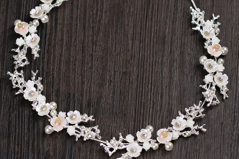 SilverGold Headpiece Tiara DIY Wedding Woodland Sash DIY DIY Tiara Rose Branch Leaf Wire Bridal Tiara Jewelry Pearl flower vine supply
