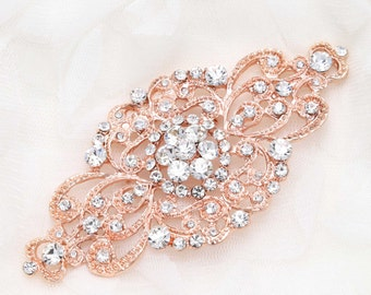 Rose Gold Wedding brooch, Gold headpiece DIY, Rose gold establishment, Wedding buckle, Crystal buckle,Rhinestone supply - Nothing at back