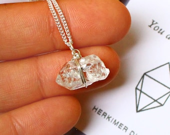 Herkimer Diamond Necklace Gift For Mum 925 Sterling Silver