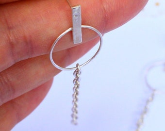 Hoop Earrings in Sterling Silver With Chain Accent