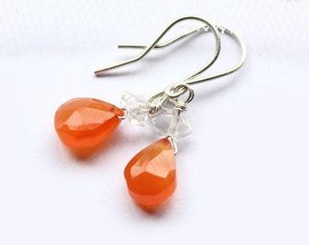 Orange Tangerine Earrings Fire Carnelian Drop With Herkimer Diamond And Sterling Silver