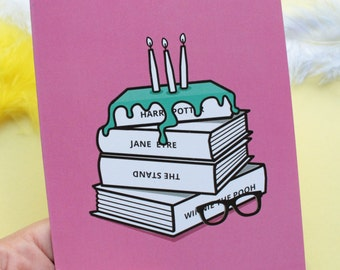 Book Lover Cake Birthday Card For Readers Funny Literature Greeting