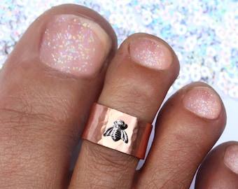 Bee Ring Copper Toe Jewellery or Midi Ring