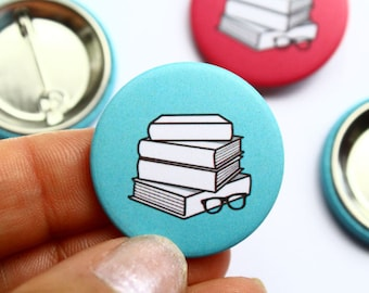 Book Lover Gift Badge Literature Print Book Pile In Blue Or Pink